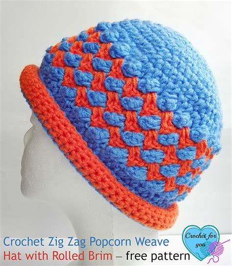 zig zag hat pattern crochet crochet patterns galore zig zag popcorn weave hat