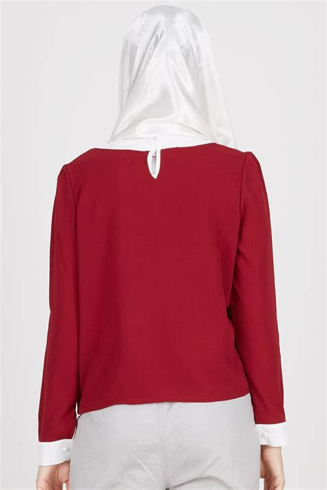 sell kare top maroon white tops hijabenka
