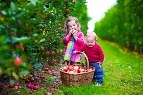 wallpaper cute girl and boy garden apples little cute boy girl desktop wallpapers