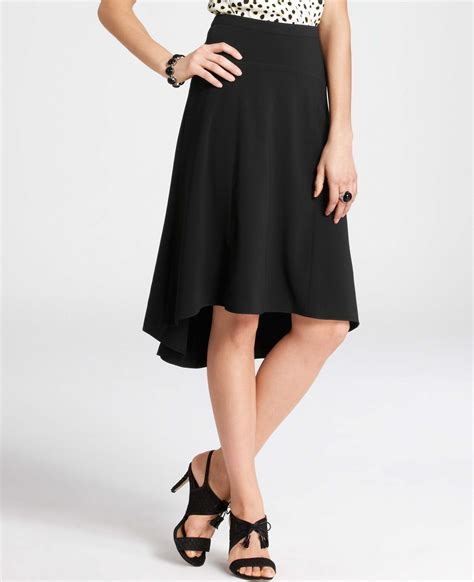 crepe high low hem skirt in black lyst