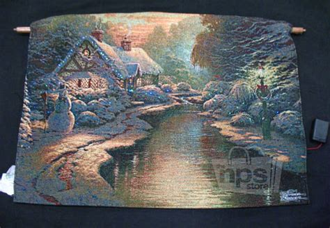 thomas kinkade fiber optic tapestry christmas evening