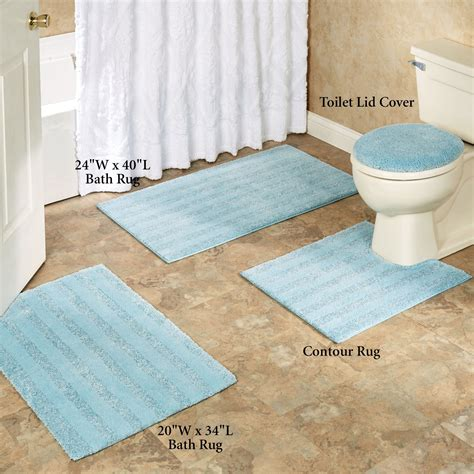 Comforel Toilet Lid Covers Or Striped Bath Rugs Rugs For The Bathroom