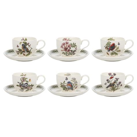 Portmeirion Botanic Garden Set Portmeirion Botanic Garden Birds Tea Cup And Saucer Set Of 6 Royal Worcester Uk