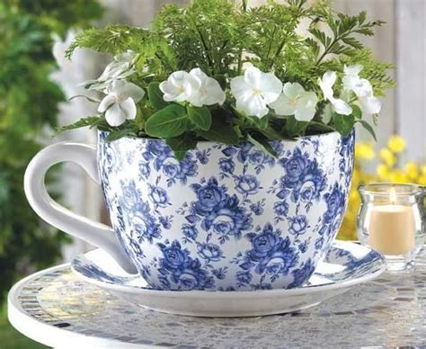 Oversized Teacup Planter by Cottage Chic Blue Roses Large Tea Cup Saucer Planter