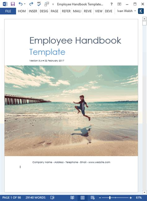 Employee Handbook Template Download 100 Pg Ms Word Templates Excel Employee Handbook Cover Design Template