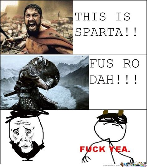 This Is Sparta Meme - skyrim vs sparta by drago meme center