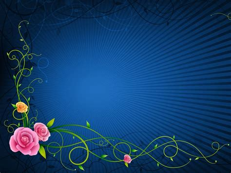 Blue Flower Powerpoint Backgrounds Free Design Templates Flower Blue Patterns Ppt Backgrounds