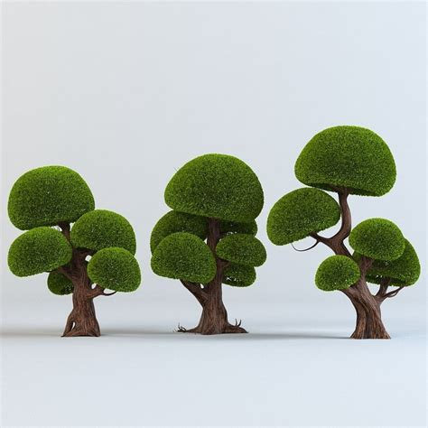 cartoon trees set 3d model max obj cgtrader com