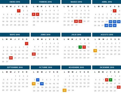 calendario 2016 que indique semanas calendario 2016 habr 225 17 feriados y nueve fines de semana