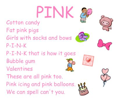 the color pink song teach children to spell color words with these songs that