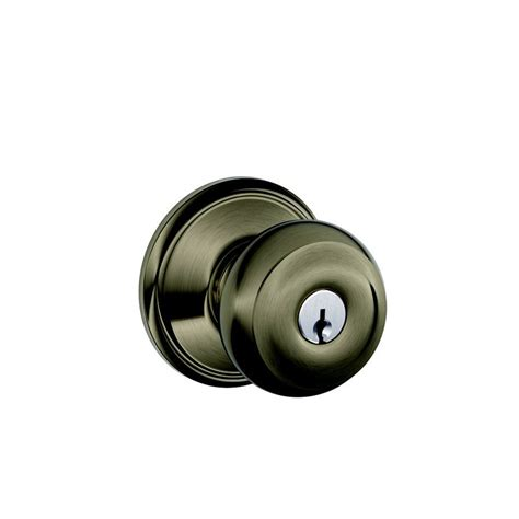 Schlage Door Knobs Schlage 79919 Antique Pewter Georgian Keyed Entry Door