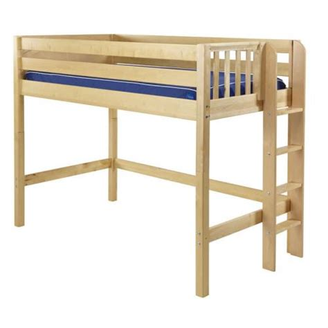 mid loft bed mack mid loft bed with side ladder in natural by maxtrix