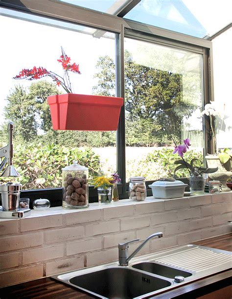 magnetic indoor outdoor planter adheres to both sides of - Kitchen Window Planter Box