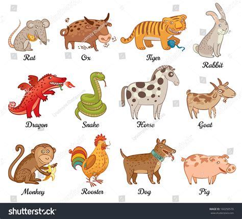 new year monkey pig astrology rat ox tiger rabbit stock vector