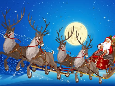 santa claus sleigh  reindeer gifts full moon desktop wallpaper hd  wallpaperscom