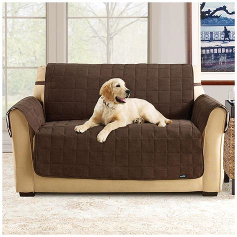 couch covers for pets sure fit 174 waterproof quilted suede sofa pet cover 292842