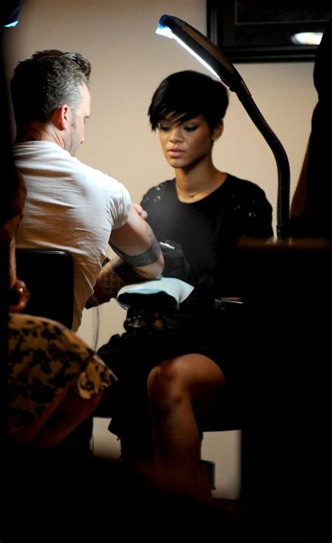 spotted rihanna getting tattoo lessons at east side ink