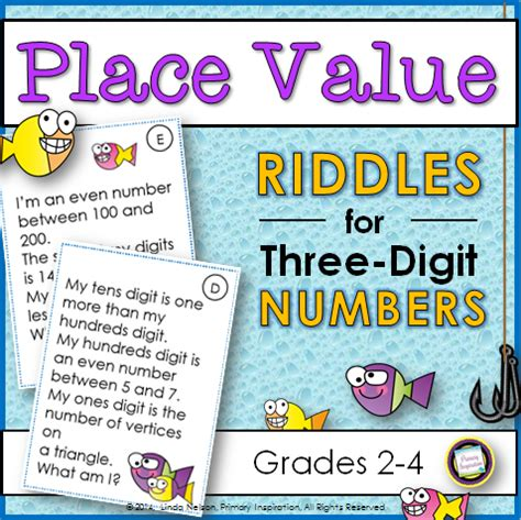 primary inspiration place value riddles for three digit