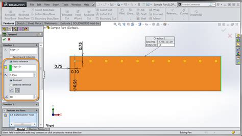 linear pattern up to reference solidworks 2015 equal spacing option for linear patterns