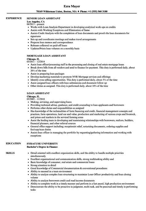 loan assistant resume sles velvet