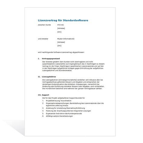 Vorlage Angebot Grafik muster lizenzvertrag standard software