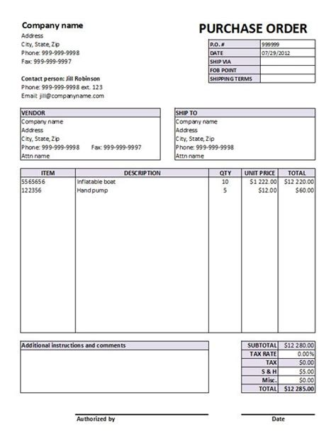 purchase invoice template purchase order form templates free po