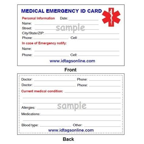 emergency id card template emergency wallet card for alert id