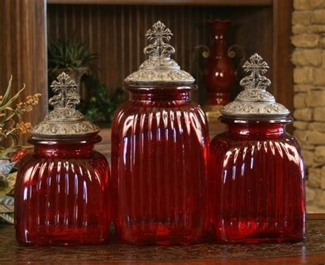 red glass kitchen canisters glass canisters decorative glass and canister sets on