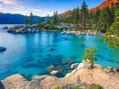 lake tahoe rv parks california usa blue water rocks pine