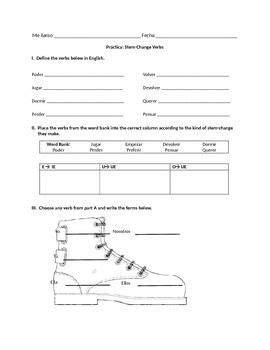 how to spell boat in spanish spanish stem change verb worksheet present tense note