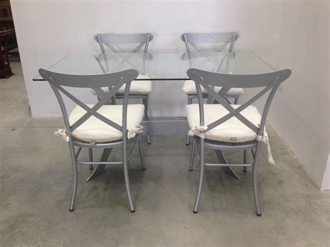 metal and glass dining set garden furniture for sale at