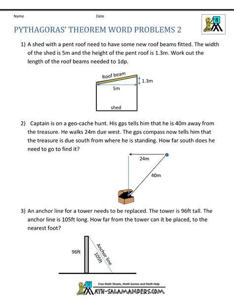 Pythagorean Theorem Word Problems Worksheet by Pythagoras Homework Help