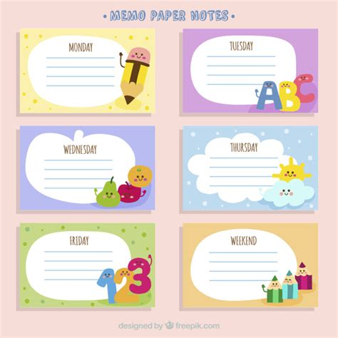 Memo Template Vector Memo Paper Notes With Drawings Vector Free