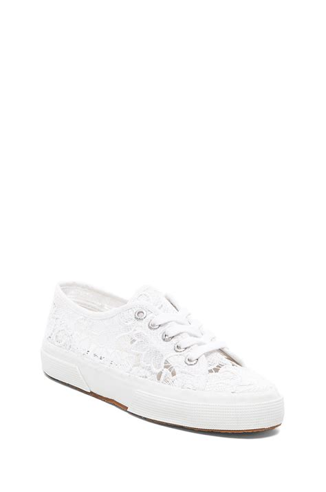 white lace sneakers superga lace lace up sneakers in white lyst