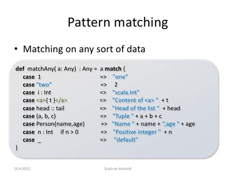 android pattern matching scala on android