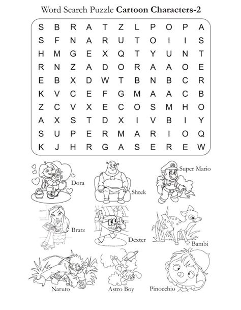 word search puzzle cartoon characters 2 download free