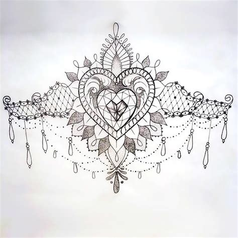 small under breast tattoo lace sketch breast