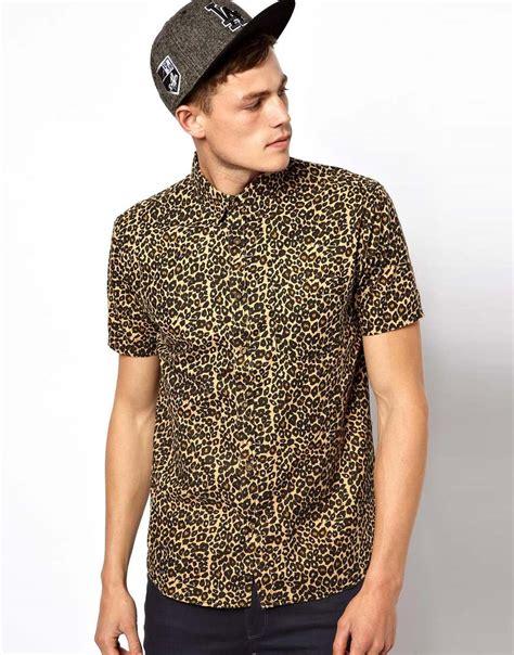 Kemeja Casual Cavali dolce gabbana brave soul shirt in leopard print in brown