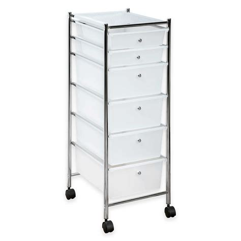 Rolling Storage Cart With Drawers by Homecrate 6 Drawer Rolling Storage Cart Drawers Chrome