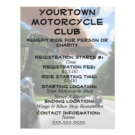 Motorcycle Biker Road Trip Ride It Flyer Zazzle Free Motorcycle Ride Flyer Template