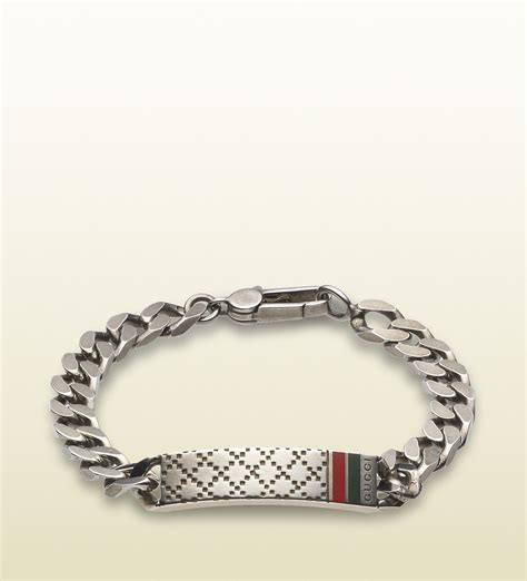 gucci diamante motif id bracelet in metallic for lyst