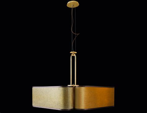 Fabric Pendant Lights Lusso Quadrifoglio 5hlflsdg1 Italian Modern Hanging Light In Gold Fabric