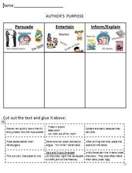 printable graphic organizer for author s purpose worksheets authors purpose worksheets opossumsoft