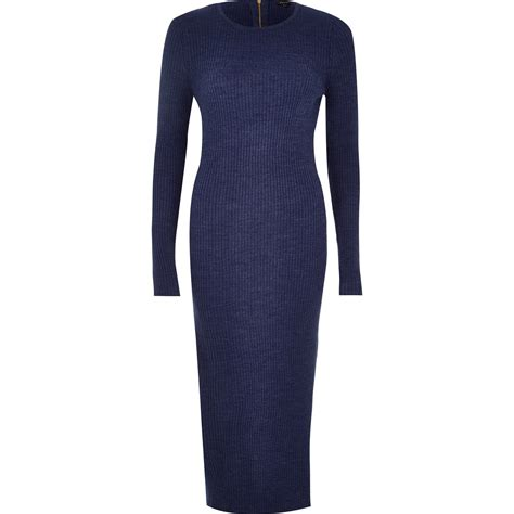 River Island Navy Knitted Sleeve Midi Dress In Blue