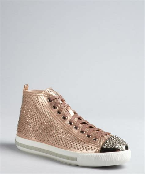 high top gold sneakers miu gold studded leather high top sneakers