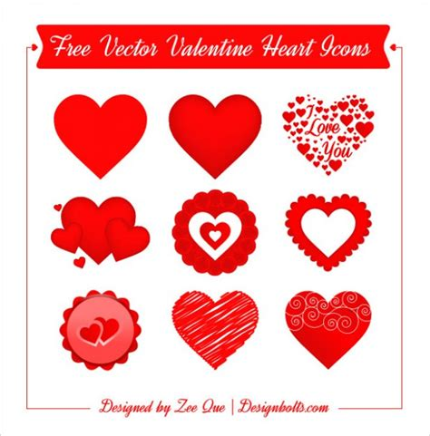 free valentines vectors hearts day icons vector free