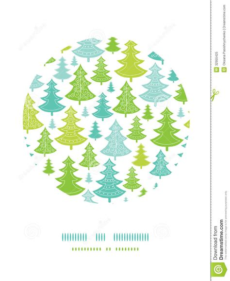 holiday christmas trees circle decor pattern stock vector