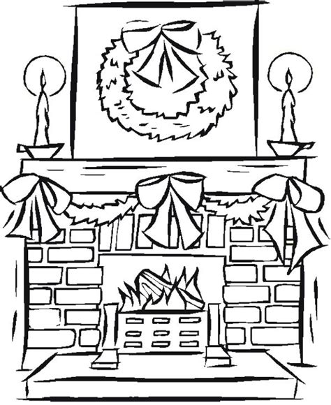 Coloring Page Christmas Fireplace | fireplace christmas coloring page coloring pages 2