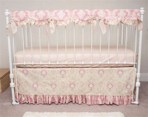 vintage crib bedding bumperless vintage floral rose pink and ivory baby girl