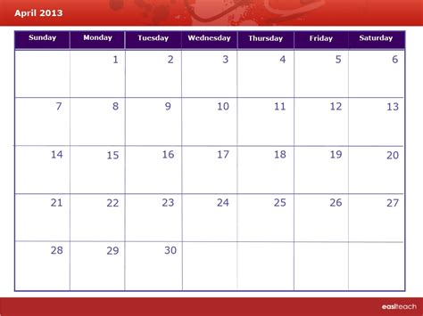 April 2013 Calendar Template Calendar April 2013 Rm Easilearn Us